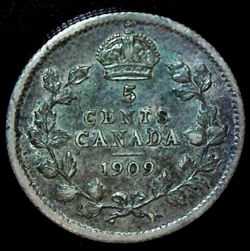 1909 Canadian Nickel Round Leaves Coinsandcanada Com