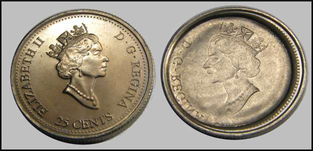 Coins and Canada - Full Brockage - Errors and varieties of
